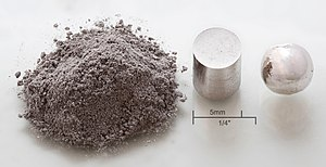 Powder metallurgy - Image: Rhodium powder pressed melted