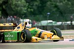 Riccardo Patreses - Benetton B193B during practice for the 1993 British Grand Prix (32873450823).jpg