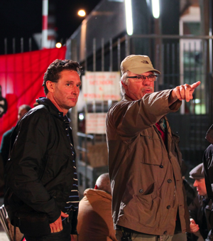 Ricky Tognazzi - Cinematographer Fabio Olmi (left) and Tognazzi (right) on set