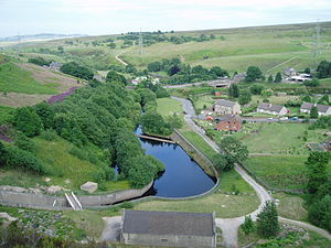 River Don, Yorkshire - The hydraulic jump pool at the foot of Winscar Dam