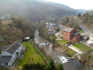 Pontrhydyfen - A view of the river from the aqueduct