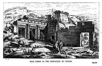 Necropolis of Cyrene - Image: Rock tombs in the Necropolis of Cyrene Wanderings in North Africa 1856