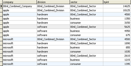 An example of a table containing rows with summary information. The summary information consists of subtotals that are combined from previous rows within the same column. Rollup table.png