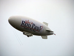 Ron Paul presidential campaign, 2008 - The Ron Paul blimp on its launch day.