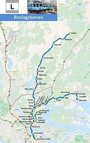 Roslagsbanan - Image: Roslagsbanan map