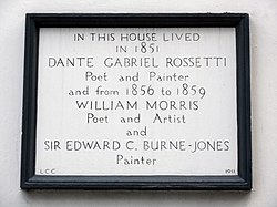 Photo of Dante Gabriel Rossetti, William Morris, and Edward Burne-Jones white plaque