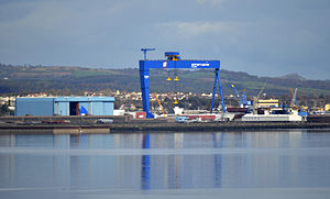 Rosyth Dockyard - The new Goliath crane at the Dockyard, used for the current assembly of the Royal Navy's new 65,000 tonne aircraft carriers.
