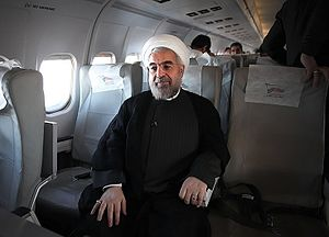 Hassan Rouhani presidential campaign, 2013 - Rouhani on an airplane