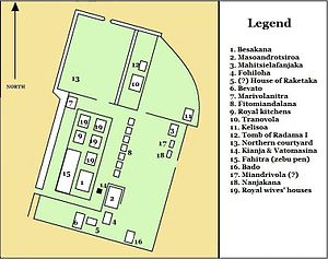 Rova of Antananarivo - Approximate layout of buildings in the Rova compound at the end of Radama I's reign in 1828