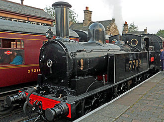 LNWR Webb Coal Tank - The surviving Coal Tank wearing LMS unlined 1920s livery as No. 7799 when visiting the Severn Valley Railway in September 2012