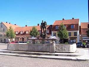 Sölvesborg - Image from Sölvesborg, a 1948 fountain of Ask and Embla, two characters of Norse mythology.