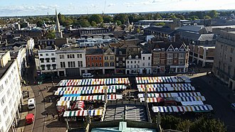 Cambridge - Cambridge Market viewed from the Tower of St. Mary the Great