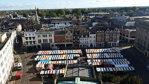 Cambridge Market viewed from the Tower of St. Mary the Great S95MarketCambridgefromGreatStMarys.jpg