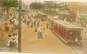 The Corso, Manly - Trams on the Corso, early 20th Century