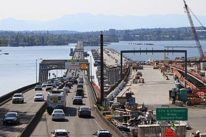 Evergreen Point Floating Bridge - Replacement bridge, to the north of the Rosellini Bridge, under construction in May 2015