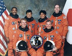 v.l.n.r. Winston Scott, Brent Jett, Leroy Chiao, Koichi Wakata, Brian Duffy, Daniel Barry
