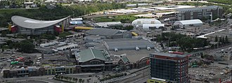 Scotiabank Saddledome - The Saddledome's location within Stampede Park, as seen from the Calgary Tower.