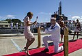 Sailor proposes to his girlfriend during a homecoming arrival. (35731390424).jpg
