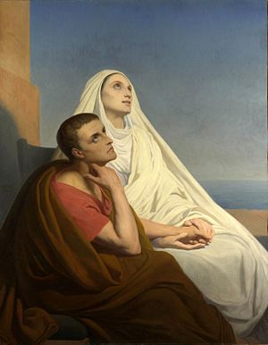 Saint Monica - Saint Augustine and his mother, Saint Monica by Ary Scheffer (painting from 1846)