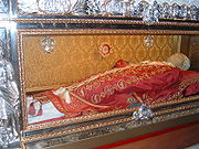 Wax funeral effigy of Gregory VII under glass, Salerno cathedral