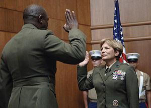 Angela Salinas - BGen Salinas restates her oath on promotion to the rank of Brigadier General.