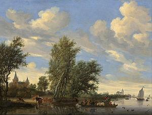 River Landscape with Ferry - Image: Salomon van Ruysdael River Landscape with Ferry Google Art Project