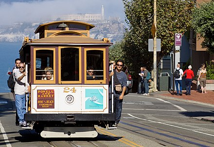 A San Francisco cable car in 2008. The cable car's effectiveness in hilly environments partially explains its continued use in San Francisco. San Francisco Cable Car MC.jpg