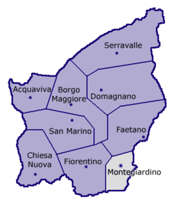 Location of Montegiardino within San Marino