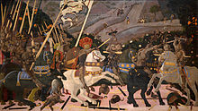 Very large panel painting of a battle scene with a man in a large ornate hat on a rearing white horse, leading troops toward the foe. Bodies and weapons lie on the ground. The background has distant hills and small figures.