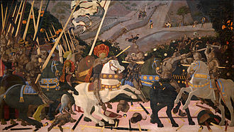 Very large panel painting of a battle scene with a man in a large ornate hat on a rearing white horse, leading troops toward the foe. Bodies and weapons lie on the ground, the background has distant hills and small figures.