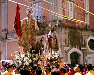 Severus of Naples - Statues of Saint Severinus and Saint Severus (right), carried during a procession at San Severo.