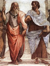 Plato (left) and Aristotle in Raphael's 1509 fresco, The School of Athens. Aristotle holds his Nicomachean Ethics and gestures to the earth, representing his view in immanent realism, whilst Plato gestures to the heavens, indicating his Theory of Forms, and holds his Timaeus.[30][31] (Source: Wikimedia)