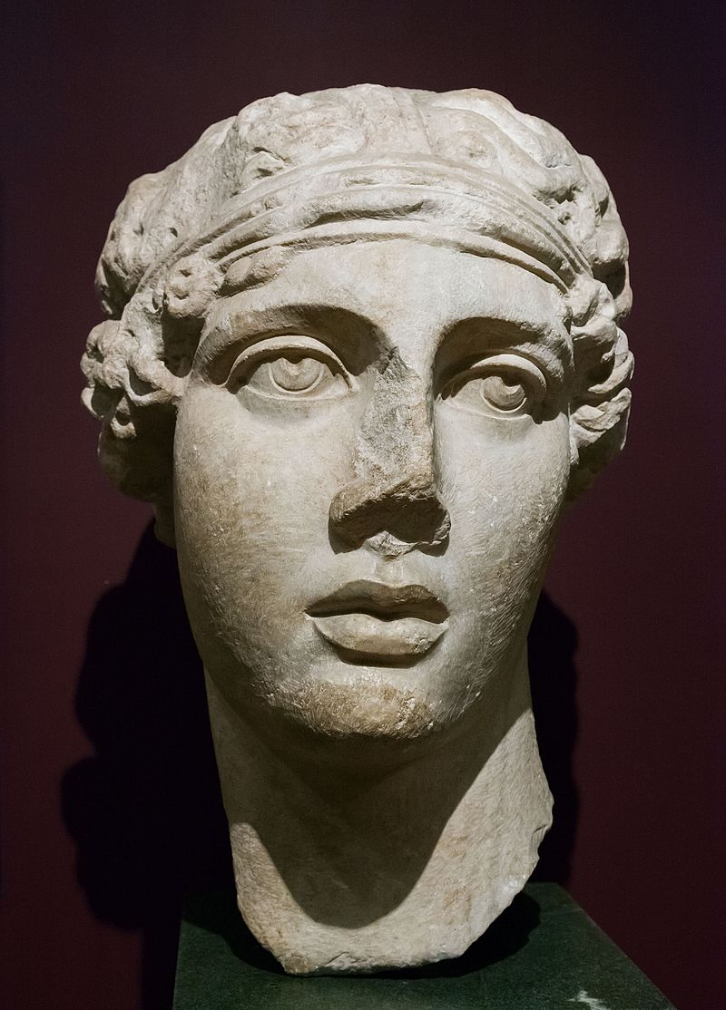 Sappho's portrait from the Istanbul Archaeology Museums. Roman copy of an original from the Hellenistic period
