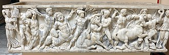 Lapiths - A centauromachy relief on an ancient Roman sarcophagus, circa 150 AD, Museo Archeologico Ostiense.