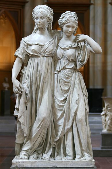 Famous Schadow statue of Frederica (right), with her sister, Louise of Mecklenburg-Strelitz. The statue was initially deemed too erotic, and was consequently closed to public viewing. Schadow-Prinzessinnen.jpg