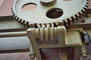 Worm drive - A worm drive controlling a gate. The position of the gate does not change once set