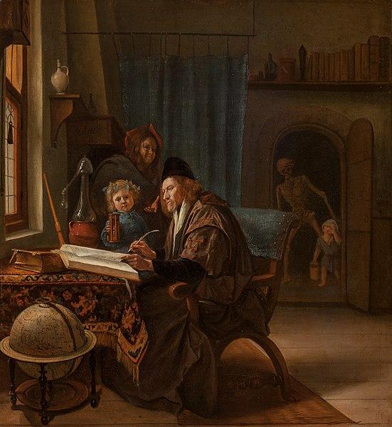 File:Scholar at his desk, Jan Steen, c. 1668-1669, oil on oak, 46.5 by 42.5 cm, National Gallery in Prague.jpg