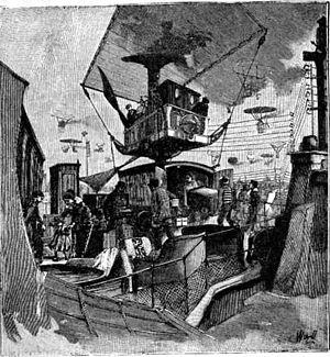 Un train aérien. Illustration de La fin du monde de Camille Flammarion. 1911.