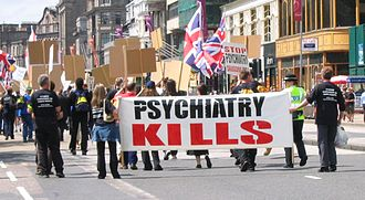 Scientology - Scientologists on an anti-psychiatry demonstration