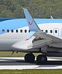 Scimitar wing tip device on a TUI Boeing 737-800 at Bristol Airport 14May2019 arp.jpg