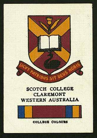 Scotch College, Perth - Collectable cigarette card featuring the Scotch colours and crest, c.1920s.