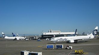 Seattle–Tacoma International Airport - Alaska and United planes at the North Satellite Terminal
