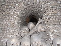 Sedlec Ossuary closeup of bone pyramid 1.JPG