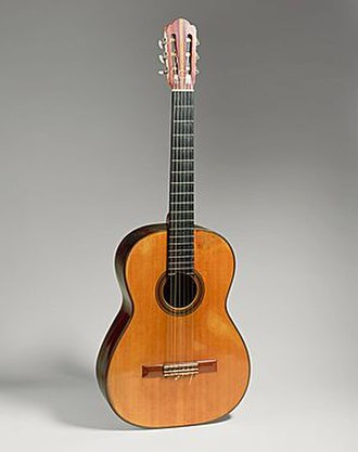 Andrés Segovia - Guitar by Hermann Hauser, 1937, Munich, Germany. Concert guitar of Andrés Segovia's from 1937 until 1962. Gift of Emilita Segovia, Marquesa of Salobreña, 1986 (1986.353.1). Housed in the Metropolitan Museum of Art.
