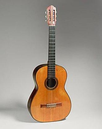 Andrés Segovia - Guitar by Hermann Hauser, 1937, Munich, Germany. Concert guitar of Andrés Segovia's from 1937 until 1962. Gift of Emilita Segovia, Marquesa of Salobreña, 1986 (1986.353.1). Housed in the Metropolitan Museum of Art.