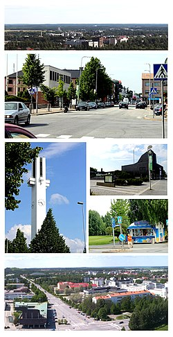 Top:Panorama view of Seinäjoki from JouppilanvouriHill, 2nd:Torikeskos Street and Koulukatu area, 3rd left:Lakerudon Risti Church, 3rd upper right:Aalto Center (Aaltokeskos), 3rd lower right:Lakerudou Risti Park, Bottom:View of downtown Seinäjoki from Alvar Aalto Tower