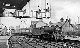 Selby railway station - North end of Selby station and the swing bridge (1957)