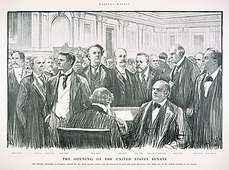 Joseph B. Foraker - Drawing of the opening of the Senate session in December 1902.  Hanna is the shorter man to the right of the clerk; Foraker stands behind Hanna and slightly to his right.