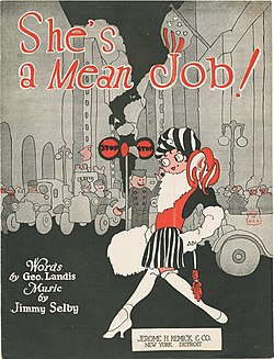 She's a Mean Job sheet music cover, 1921 sheet music published by Jerome H. Remick & Co., New York, Authors- George Landis and Jimmy Selby.jpg