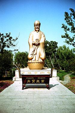 Wealthy merchant Shen Wansan's statue in Zhougzhuang